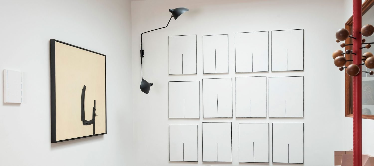 Artwork by Carol Rama, wall light by Serge Mouille, series of paintings by Clay Mahn, and partially visible coat rack by Osvaldo Borsani homepage pictiure