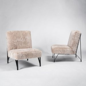 Pair of Eleanor Peduzzi Riva chair with metal frame and upholstered seat and back - square featured picture