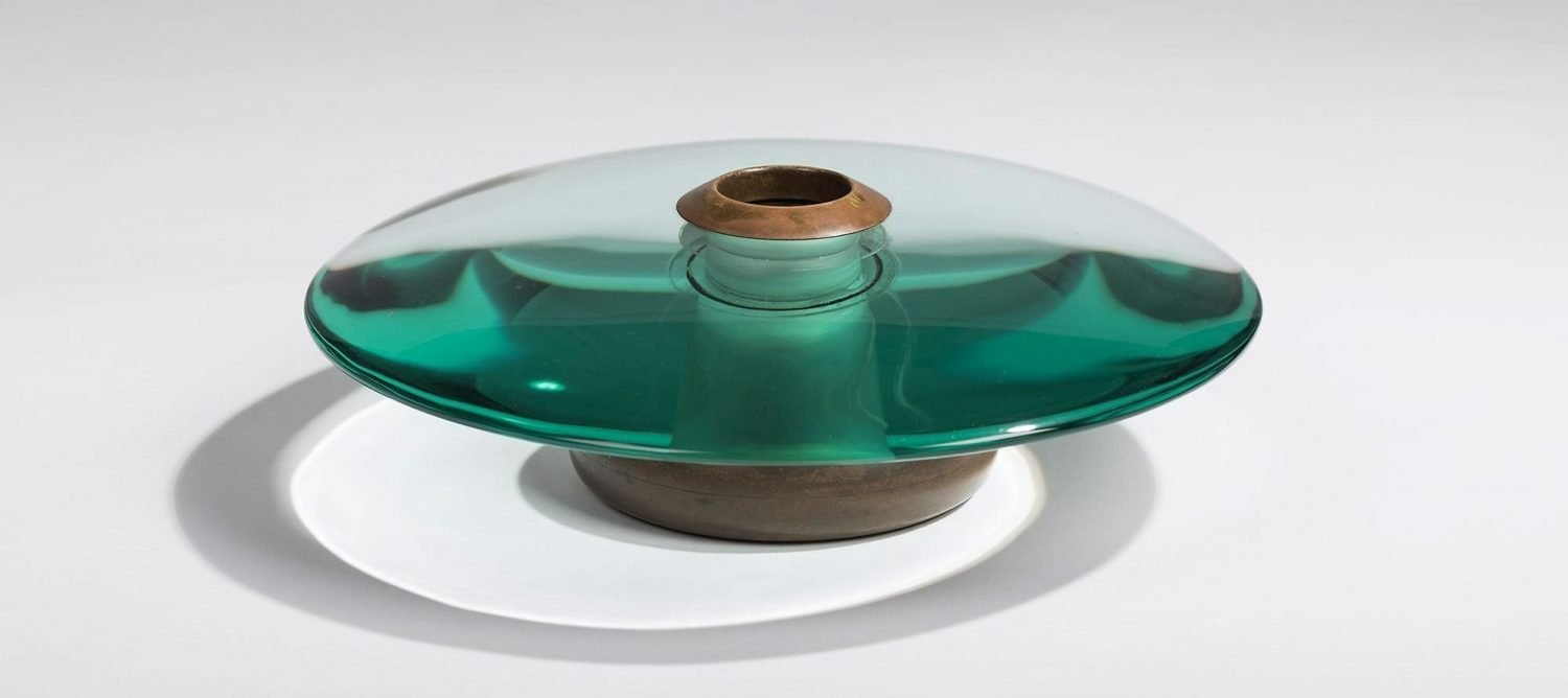 Homepage picture of a glass and copper Fontana Arte Vase at Italian design and furniture Gallery Casati Gallery