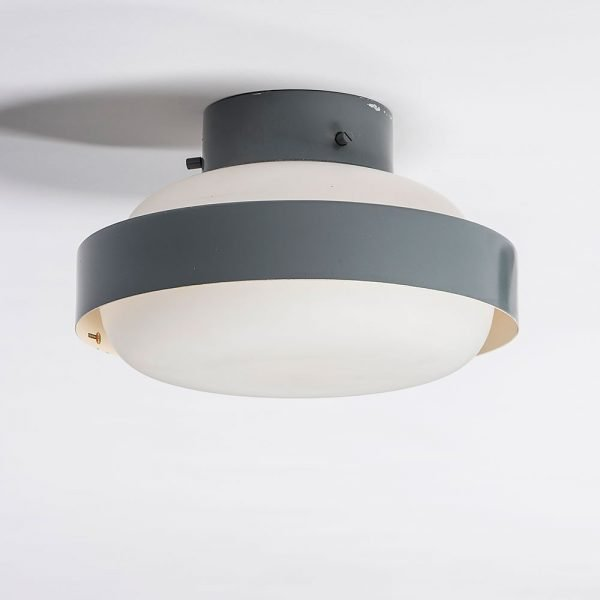 Gino Sarfatti  |                                  Pair of grey ceiling lights model 3010