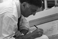 Italian Architect Aldo Rossi making an architectural drawing