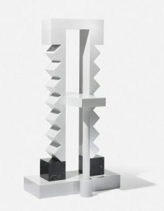 Ettore Sottsass black and white marble pedestal