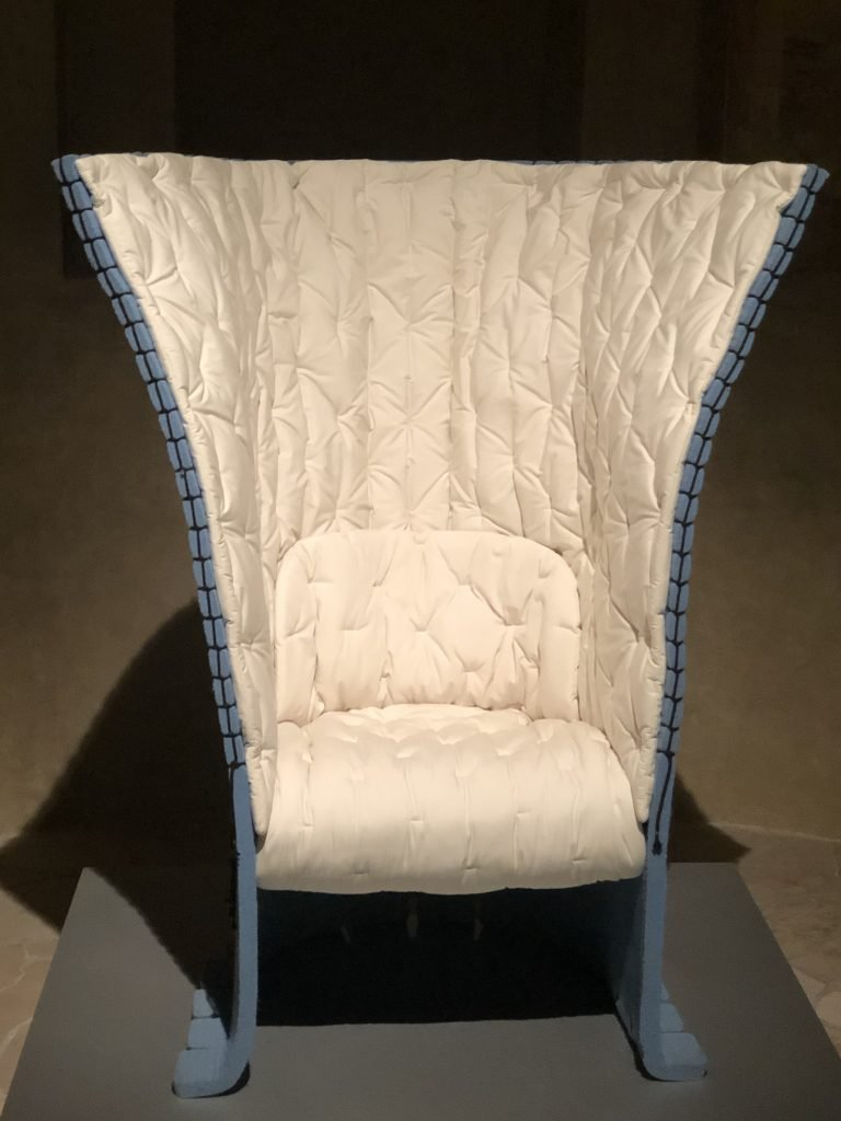 White and blue Feltri chair designed by Gaetano Pesce in 1987 for Cassina