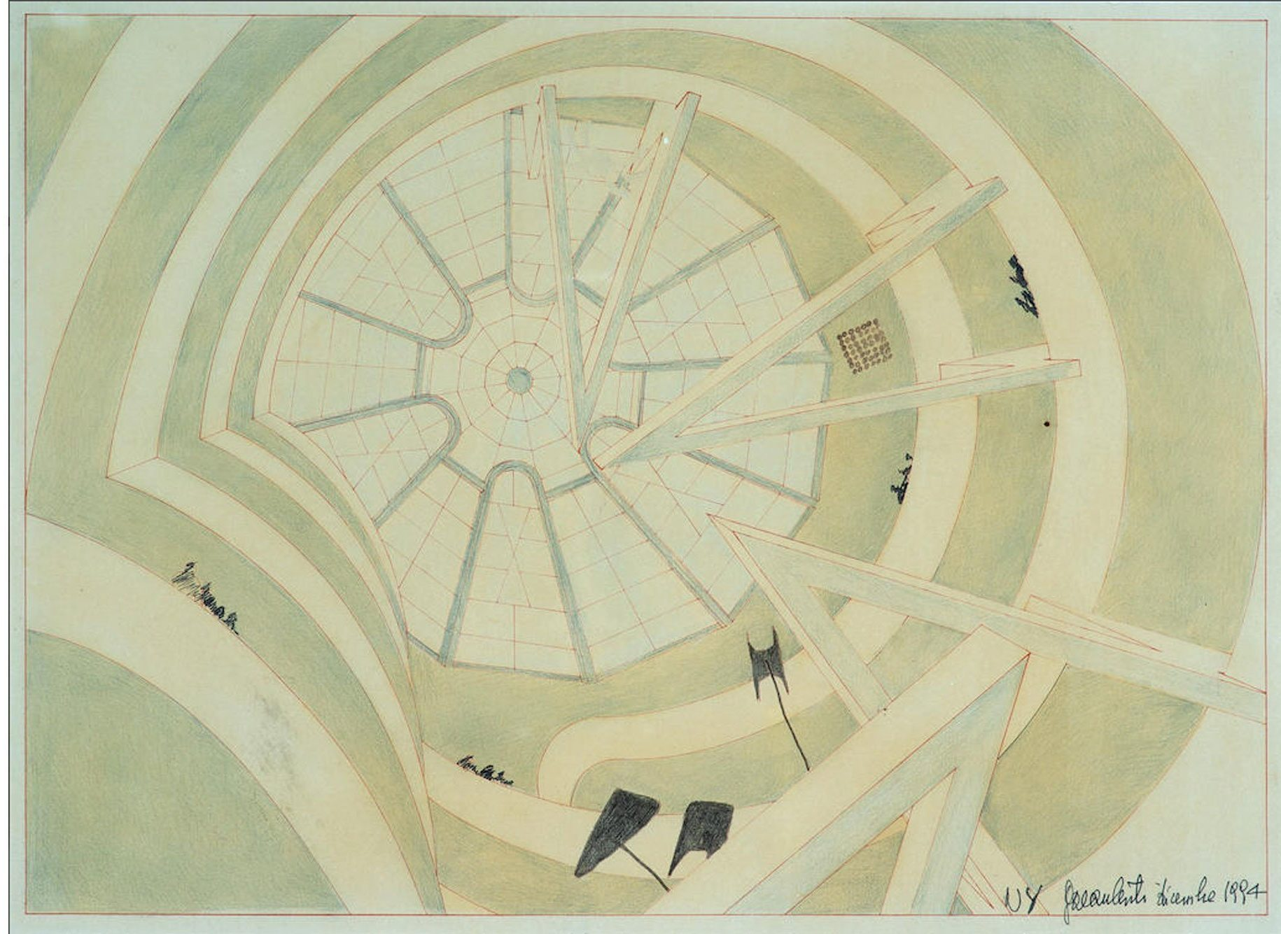 "Architectural drawing of architect Gae Aulenti of the Guggenheim Museum exhibition ""The Italian Metamorphosis, 1943–1968."""