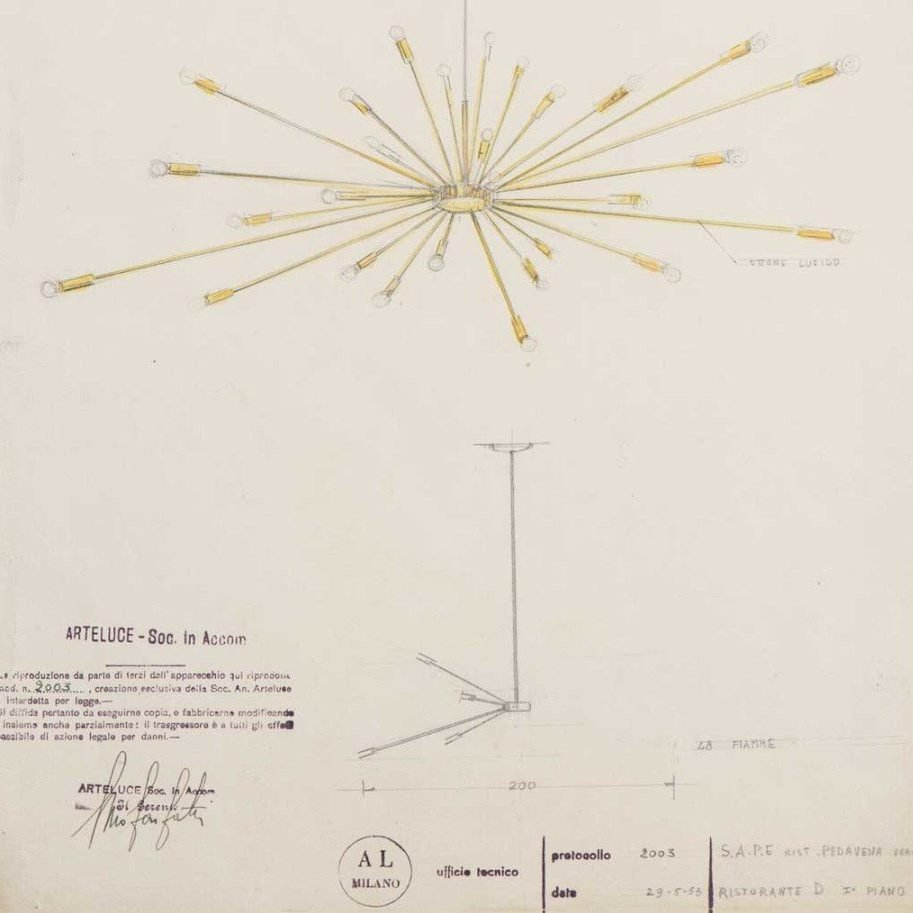 Gino Sarfatti |  Design drawing of the ceiling light, model 2003