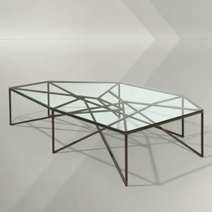 Italian coffee table designed by Giovanni Ferrabini comprised of interconnected metal rods and a glass top of irregular shape.