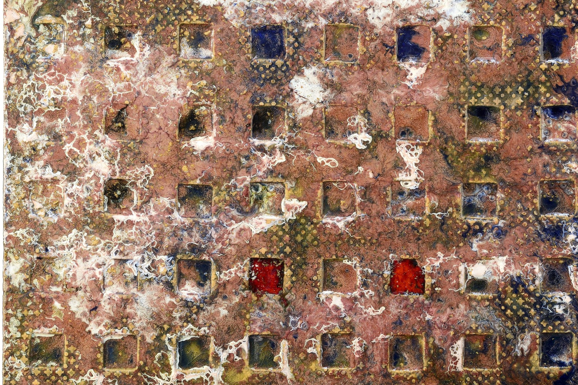 Fausto Melotti |  Bas relief panel - red squares