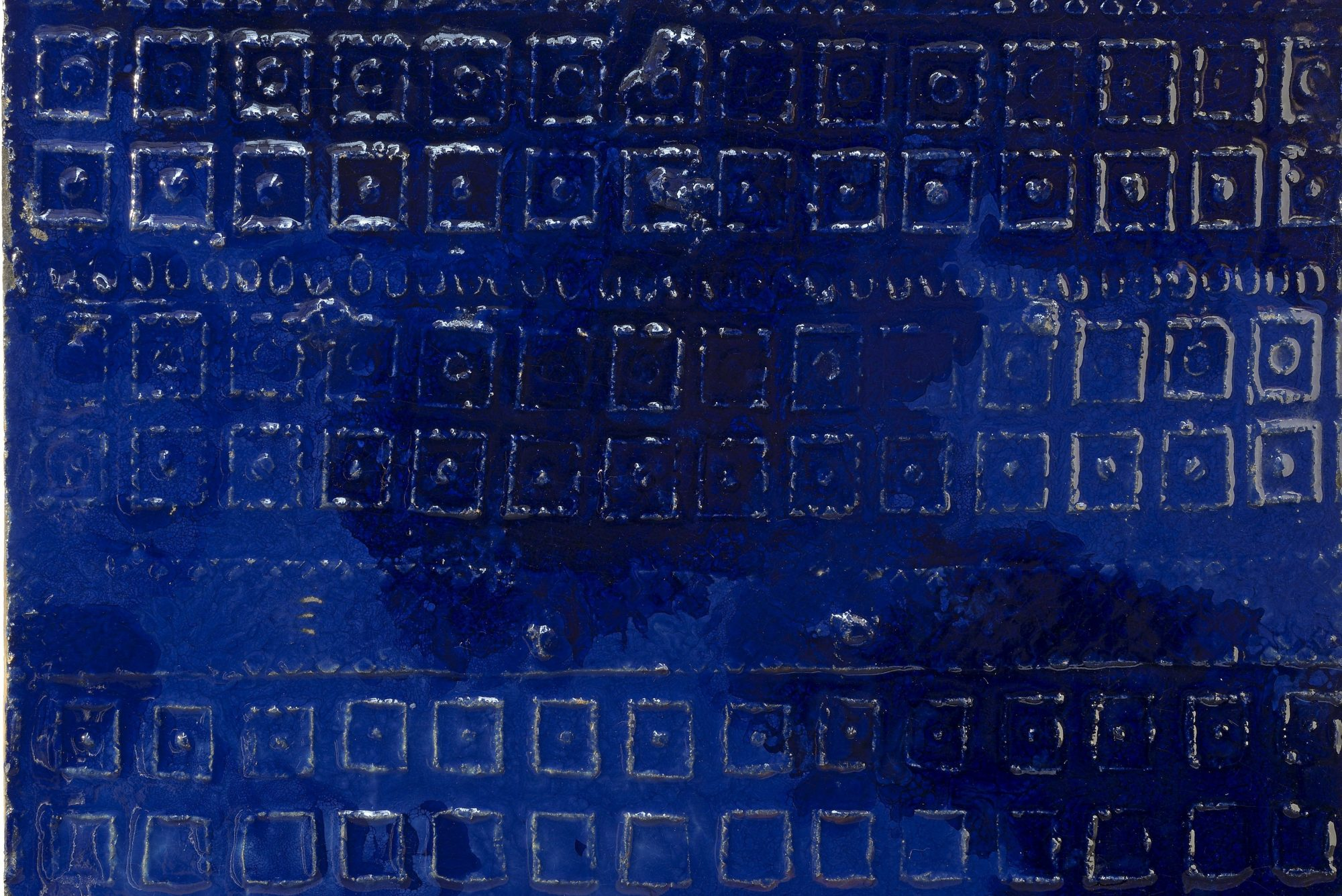Fausto Melotti |  Bas relief panel - blue squares