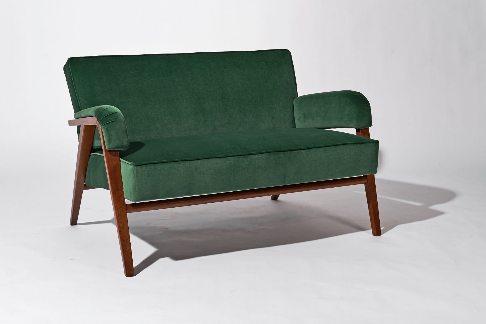 Franco Albini green loveseat designed for Casa C. Milan at Casati Gallery