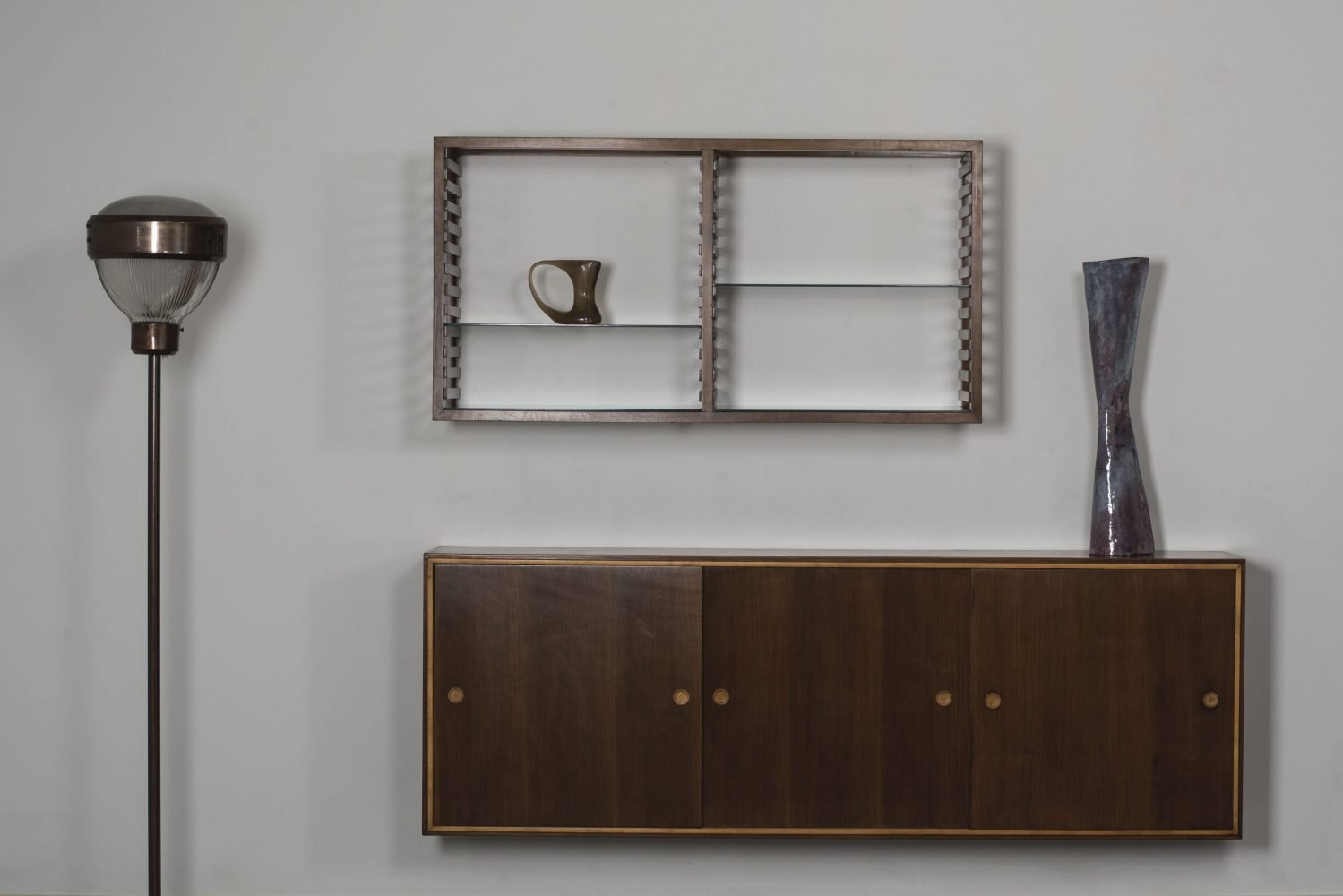 Franco Albini bookcase and cabinet with BBPR lam and Melotti vase