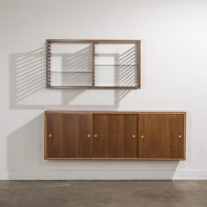 Front view with lateral shade of Franco Albini bookshelf and wall-mounted cabinet at Italian design and furniture Casati Gallery square featured image