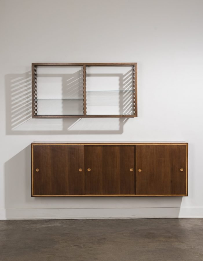 Franco Albini |  Bookshelf and wall-mounted cabinet commissioned for Casa Carati