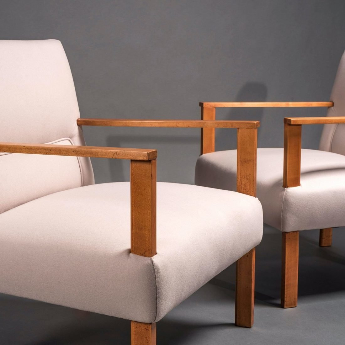 Armchairs by Italian architects Mario Asnago and Claudio Vender at Italian furniture and design gallery Casati Gallery