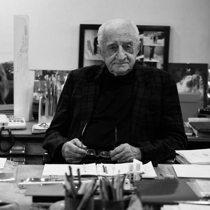 Portrait of Italian architect and designer Luigi Caccia Dominioni at Italian design and furniture gallery Casati Gallery