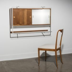 Franco Albini wall mounted vanity with mirror and a Guglielmo Ulrich chair at Italian design and furniture gallery Casati Gallery - square featured picture