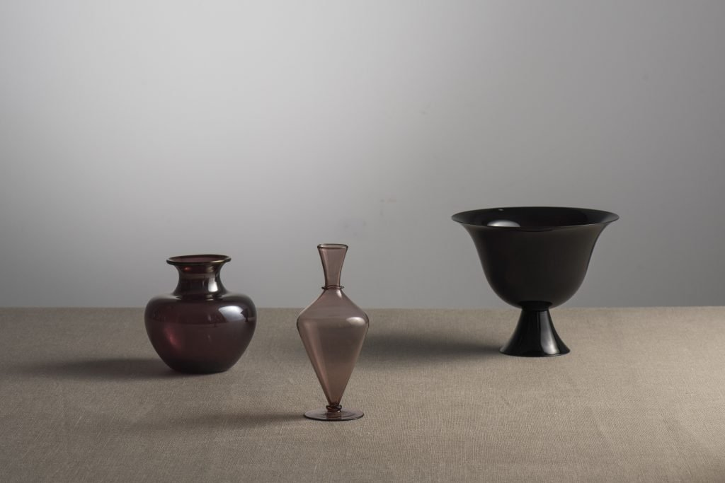 Three amethyst color Murano vases designed by Vittorio Zecchin and made by V.S.M. Cappellin Venini & C