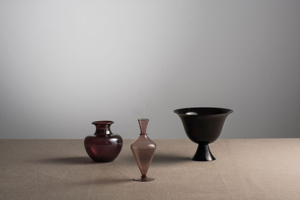 Three vases designed by Vittorio Zecchin and made by Capellin Venini between 1921 and 1925 at Casati Gallery