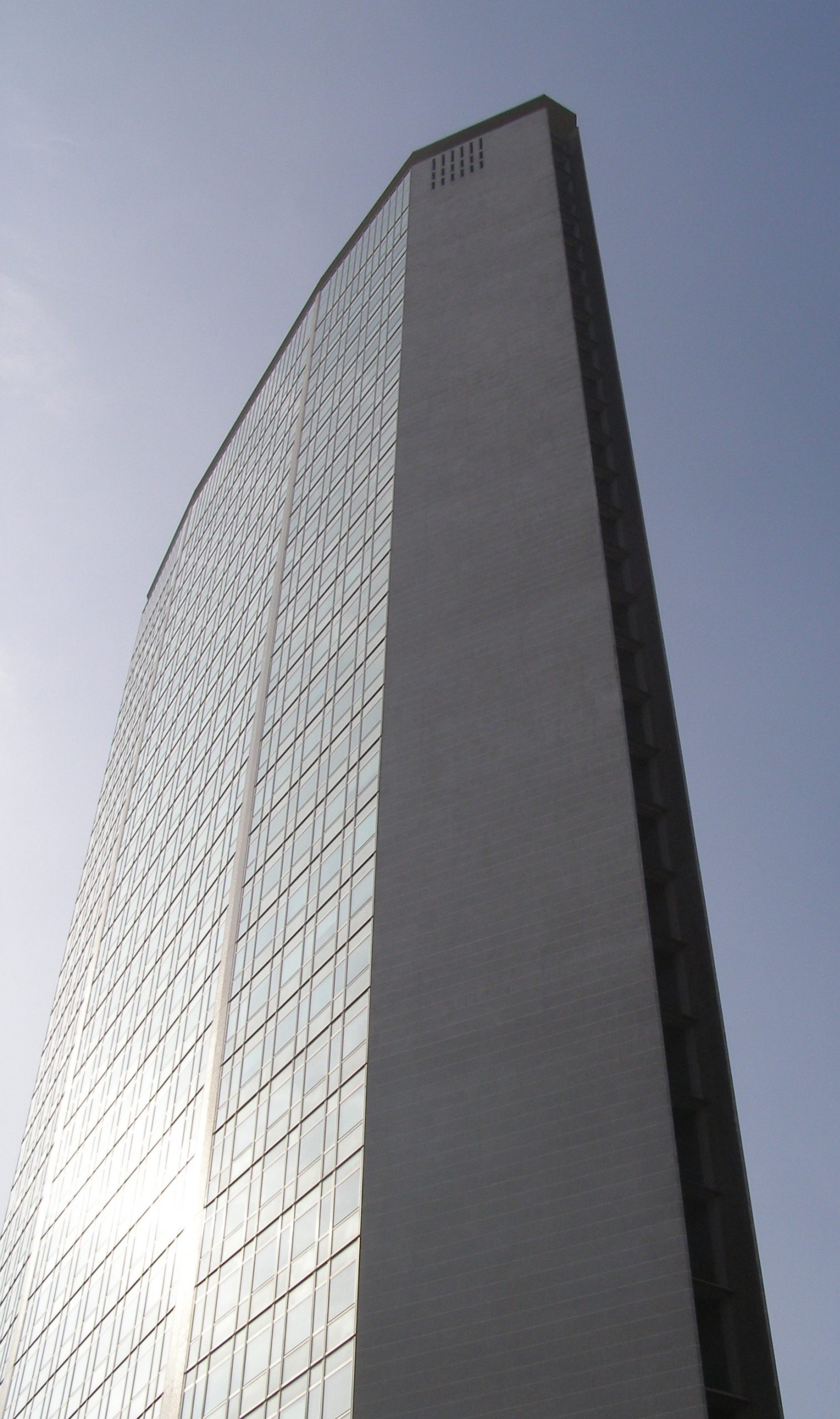 Pirelli Building in Milan viewed from the bottom