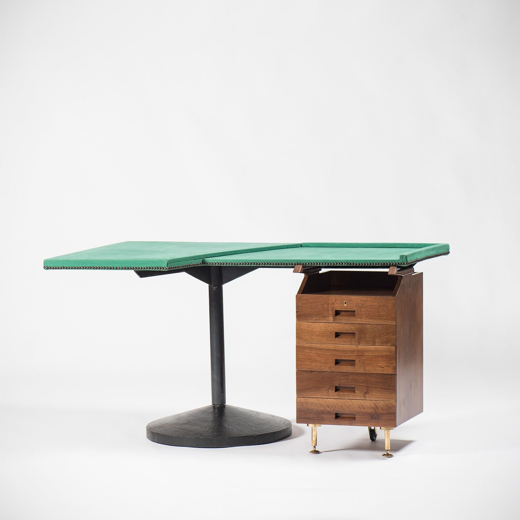 Stadera Desk with green top by Franco Albini - square picture - at Casati Gallery