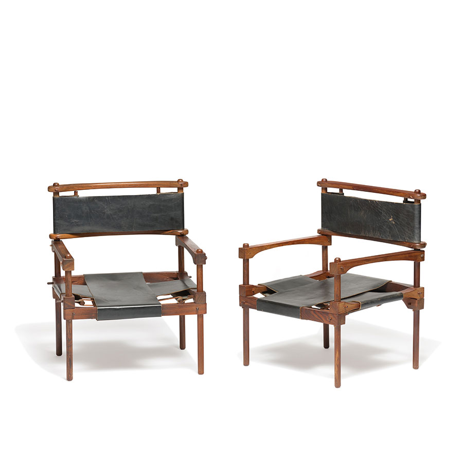 Don Shoemaker |                                  Pair of cocobolo Perno safari chairs