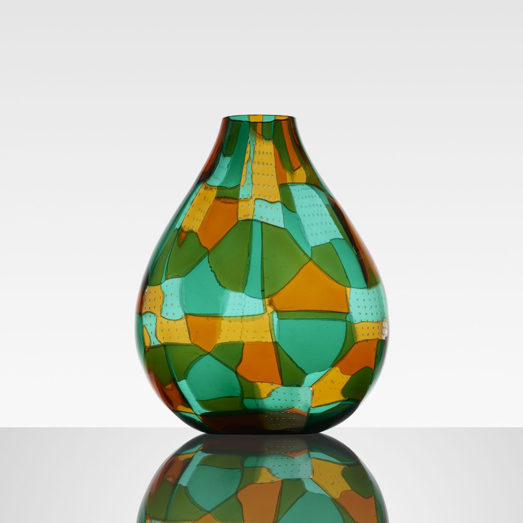 Erecole Barovier green, yellow and orange fused glass tesserae with controlled air bubbles vase