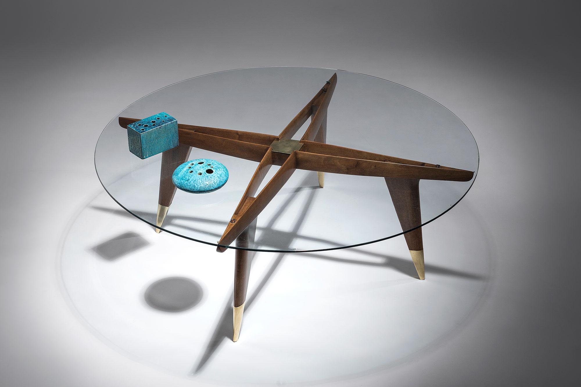 Gio Ponti Coffe table with ceramics