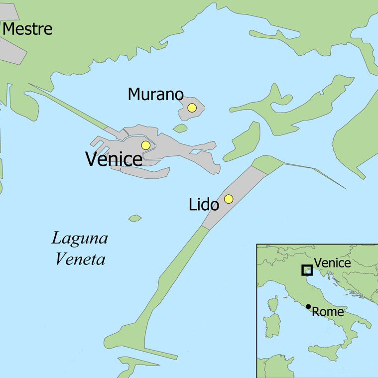 Map of Murano and Venice