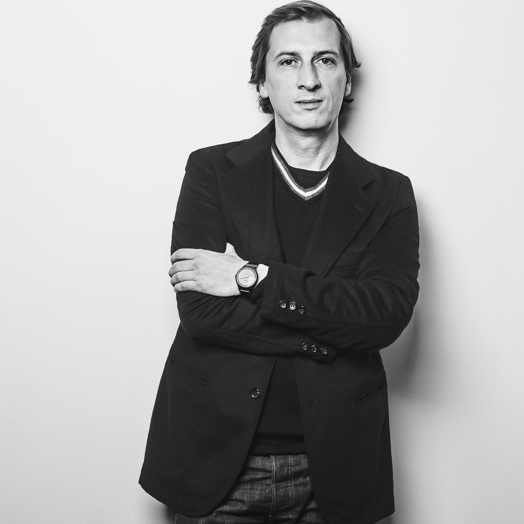 Portrait of French designer Philippe Nigro at design and furniture gallery Casati Gallery
