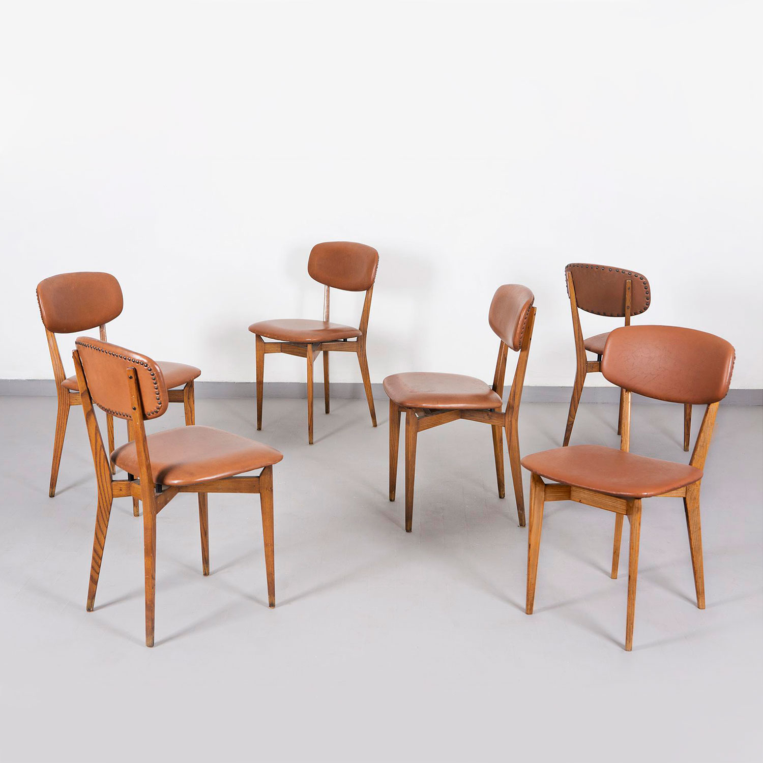 Ico Parisi  |                                  Set of six chairs, model 691
