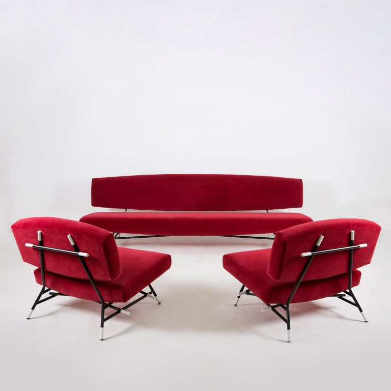 Red Ico Parisi sofa and lunge chairs at design and furniture gallery Casati Gallery