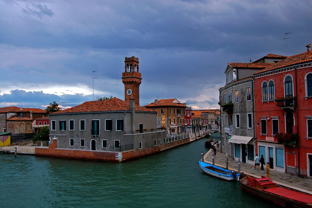 View of the city of Murano where Murano glass or Venetian glass is made