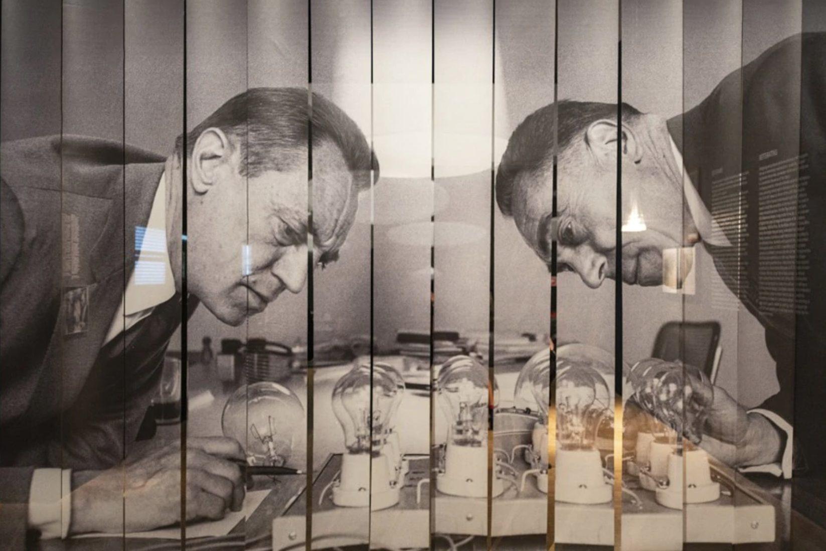 Photography of Italian designers Pier Giacomo Castiglioni (left) and Achille Castiglioni (right) at the Triennale di Milano