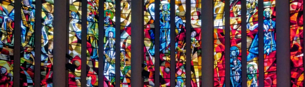 Max Ingrand's multicolored stained-glass window at St. Peter's Church of Yvetot in Normandy France
