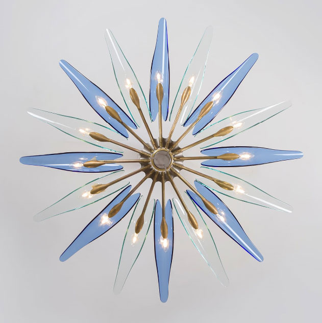 Max Ingrand |                                  Blue Dalia chandelier