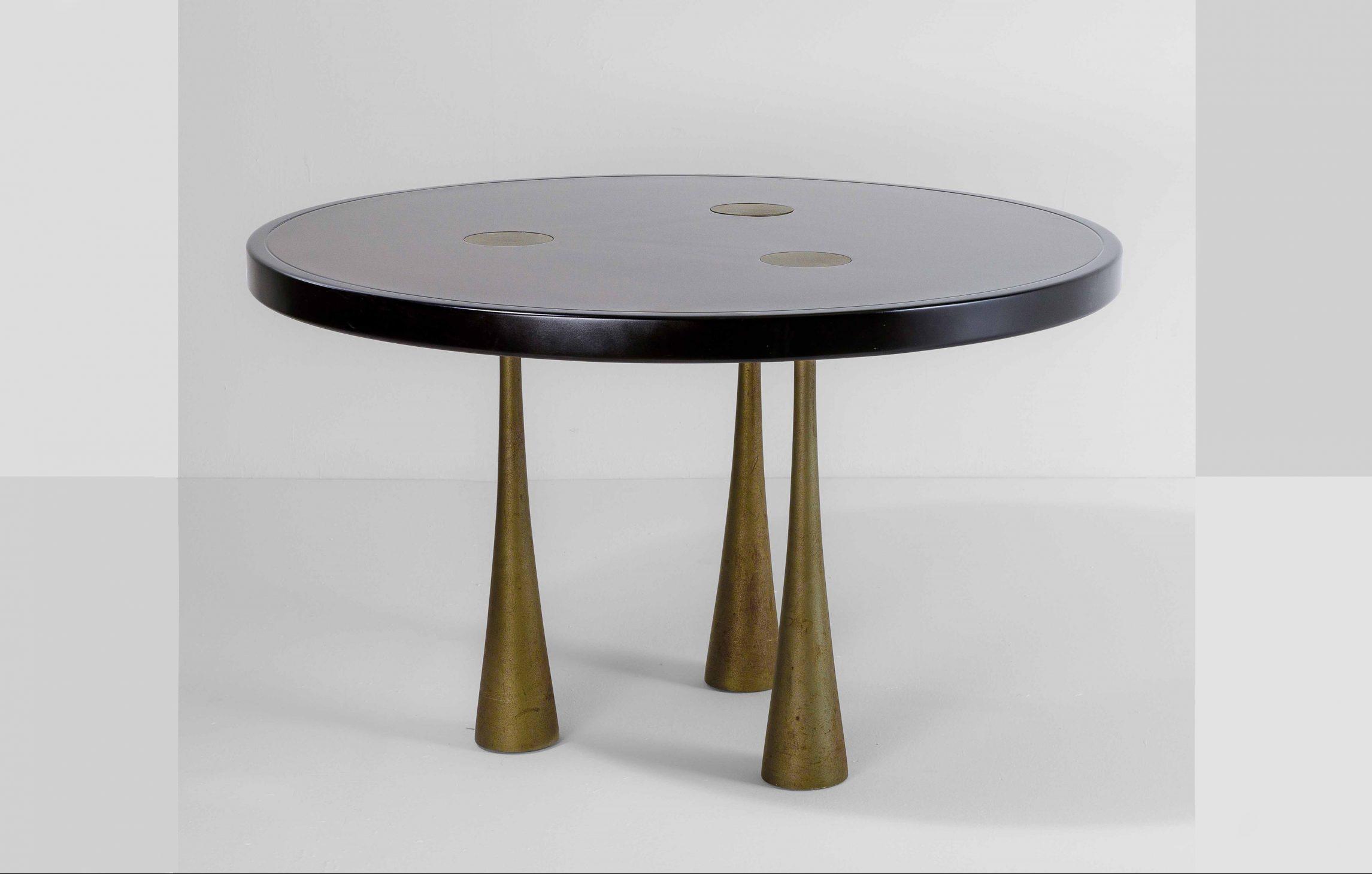 Andelo Mangiarotti |                              Wood table with three cast iron bases