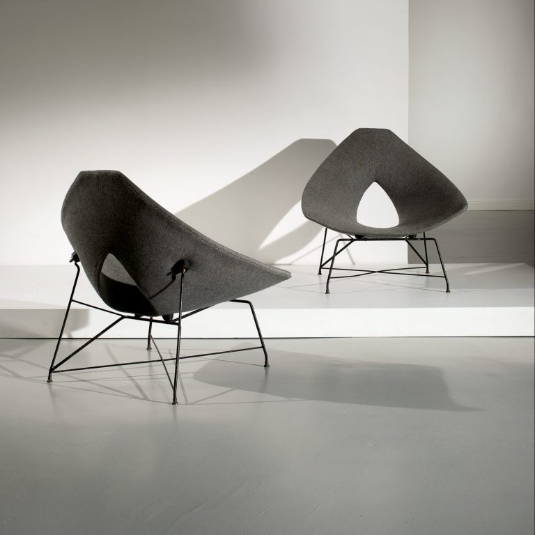 Pair of Augusto Bozzi Etere chairs at Casati Gallery