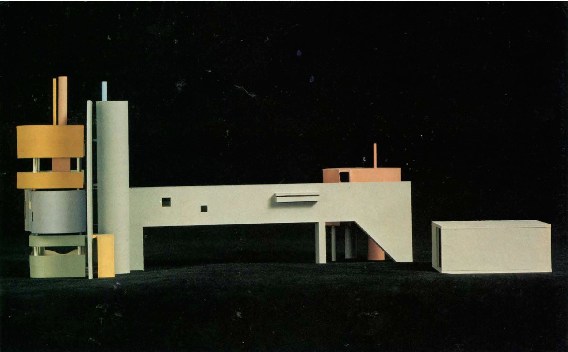 John Hedjuk, front view of scale model for Bye House, 1973. Photo from the exhibition at the Rennaisance Society at the University of Chicago