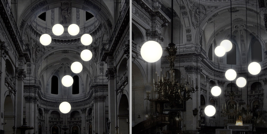Light installation by Robert Stadler at St. Paul church in Marais Paris during Nuit Blanche festival 2007 in Paris
