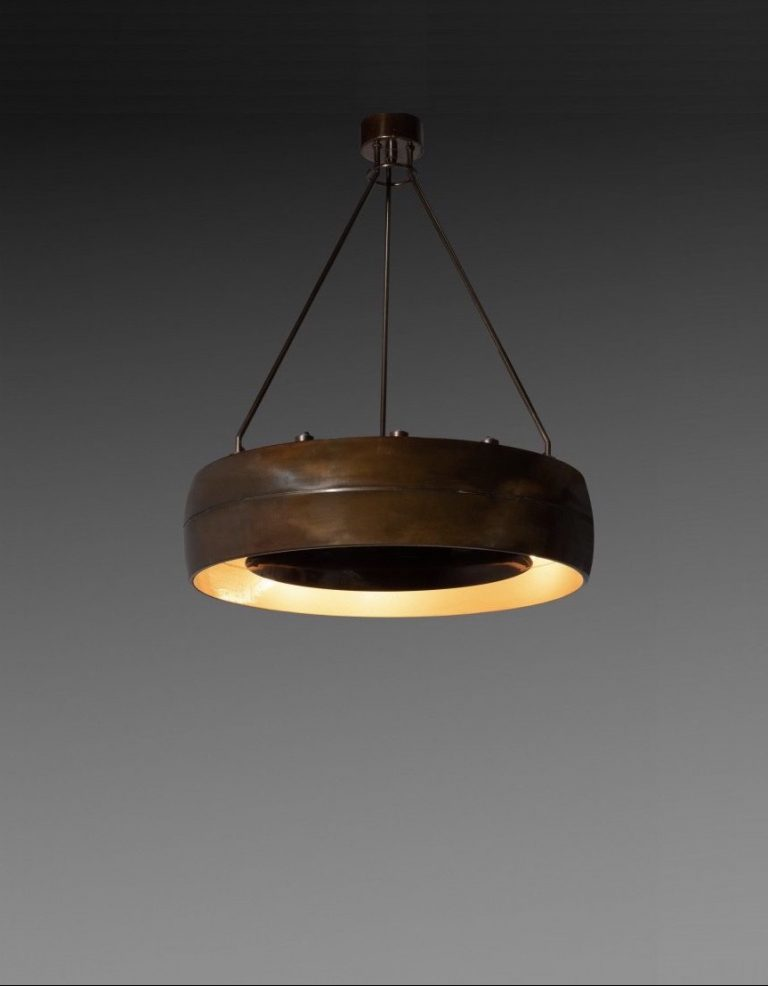 Custom made patinated brass hanging light by Studio BBPR made circa 1950 - portrait product picture