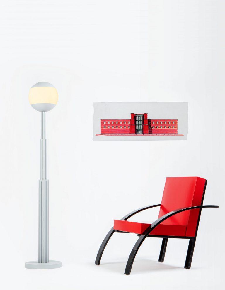 Aldo Rossi Parigi chair, Prometeo Floor lamp, and architectural drawing portrait photo at Casati Gallery