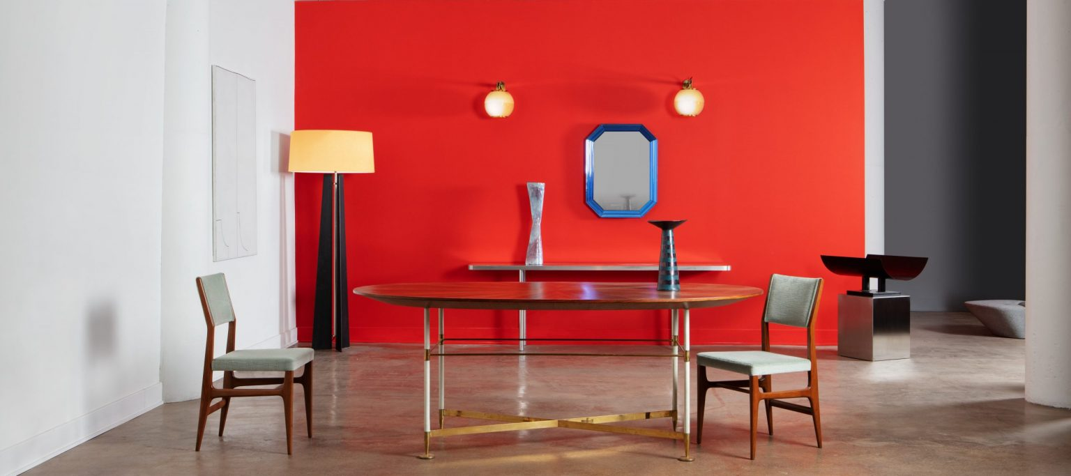 Casati Gallery Homepage photo with Ponti chairs a Fontana Arte mirror and Fausto Melotti ceramic sculptures